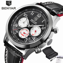 BENYAR Aviator Chronograph Mens Watch Military Sport Wristwatches Top Brand Mens Luxury Quartz Genuine Leather Band 24H Dispaly