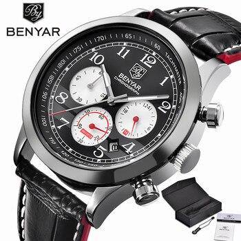 7b5325043cea BENYAR aviador cronógrafo reloj para hombre relojes de pulsera deportivos  militares marca superior de lujo de