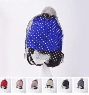 2016 European Style Fashion Cap Show Mesh & Lace Knitted Cap Supermodel Street Snap Hat for Women Dot Veil Beanies