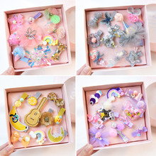 1 Set = 10 PCS New Kids Children Accessories Hairpins Barrettes Baby Fabric Bow Flower Headwear Hair clips Girls Headdress 2 pcs 1 pair children baby girls hair accessories clip girls hairpins barrettes headwear flower hairpin phr0521