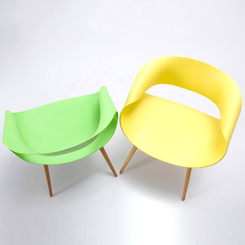 Simple Fashion Creative Leisure Chair Dinning Chair Party Afternoon Tea Bright Colorful Design Plastic Wooden Outdoor Office