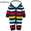 el bebe oso New Baby Rompers Winter Thicken Hooded Warm Baby Boy Girl Clothes Striped Jumpsuit Unisex Roupa De Bebe Menino XL30