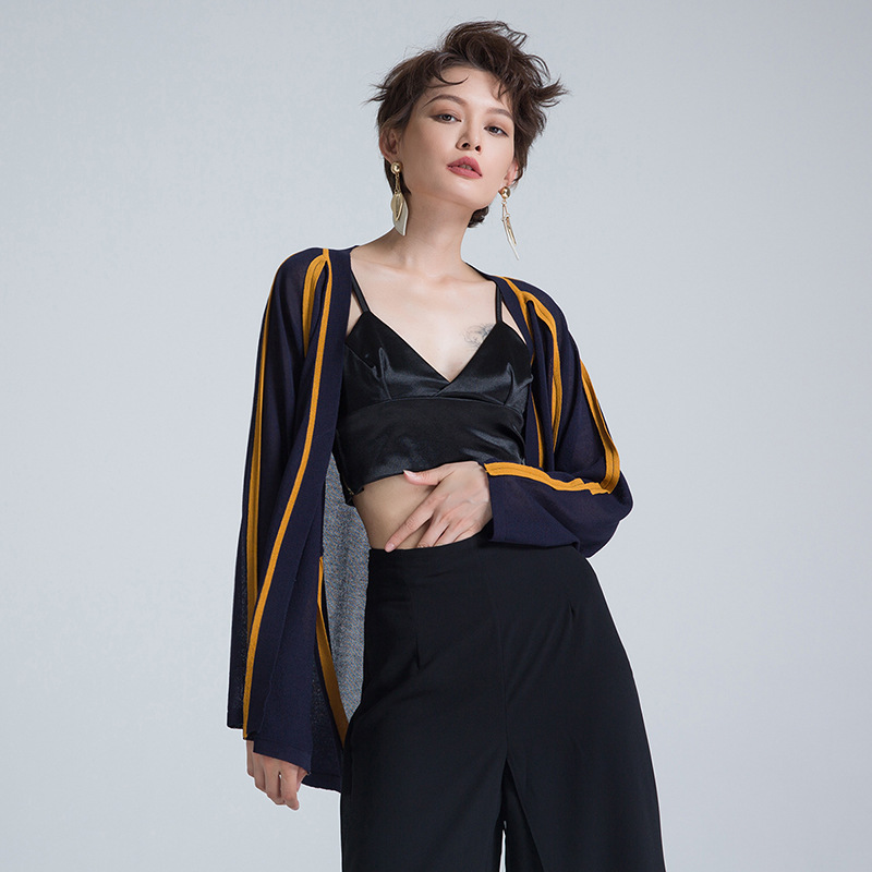 HUTOBI 2018 Summer Women Knitted Linen Cardigan High Street Sunscreen Open Stitch Sweater Black White Elegant Female Cardigan