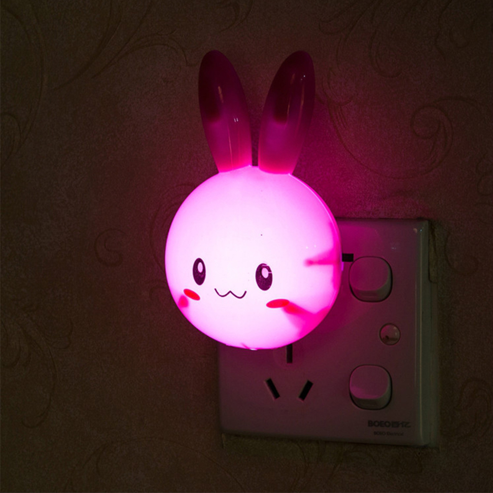 Image 5 - Cartoon Rabbit LED Night Light AC110 220V Switch Wall Night Lamp With US Plug Gifts For Kid/Baby/Children Bedroom Bedside Lamp-in Night Lights from Lights & Lighting