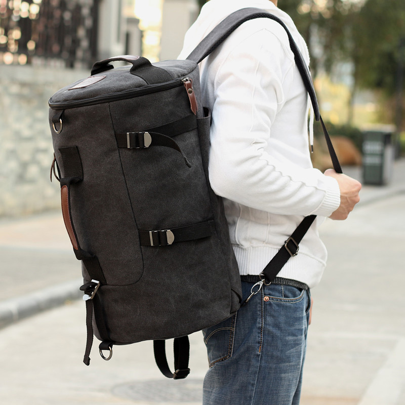 Canvas women backpack men rucksack mochila outdoor duffel bag ...