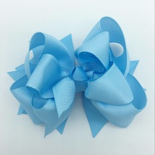 цена на 5 inch Blue Boutique Girls Hair Bows Hight Quality Hairpins Fastion Hair Clips Ribbon Bows For Kids Hair Accessories