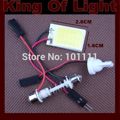 1x high quality Free shipping T10 Festoon 3 Adapters COB 18 chips white Light 12V LED reading Panel Car interior Dome light