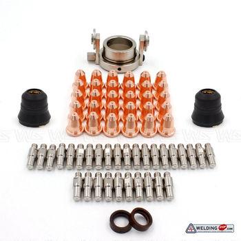 PR0110 PD0116-08 PC0116 CV0024 PE0106 Plasma Cutting Torch Roller Guide Shield Swirl Consumable Set 65pcs for Trafimet S45 Type