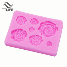 TTLIFE Rose Silicone Mold Flower Fondant Cake Sugarcraft Decorating Tools DIY Pastry Chocolate Baking Mould Kitchen Accessories 47pcs flower sugarcraft cake mold fondant plunger rose leaf daisy cutter polymer clay mould diy baking tools kitchen accessories