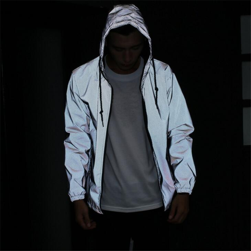 2018 Reflective Jacket Males Ladies 3M Jackets Informal Hiphop Windbreaker Night time Sporting Coat Hooded Fluorescent Clothes Jackets, Low cost Jackets, 2018 Reflective Jacket Males Ladies 3M Jackets Informal...