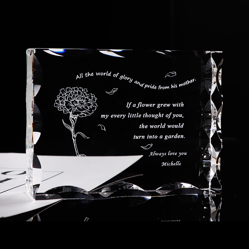Customized Gift for Mom Glass Crystal Letter Frame Laser Engrave Present for Father Mother Personalized Souvenir