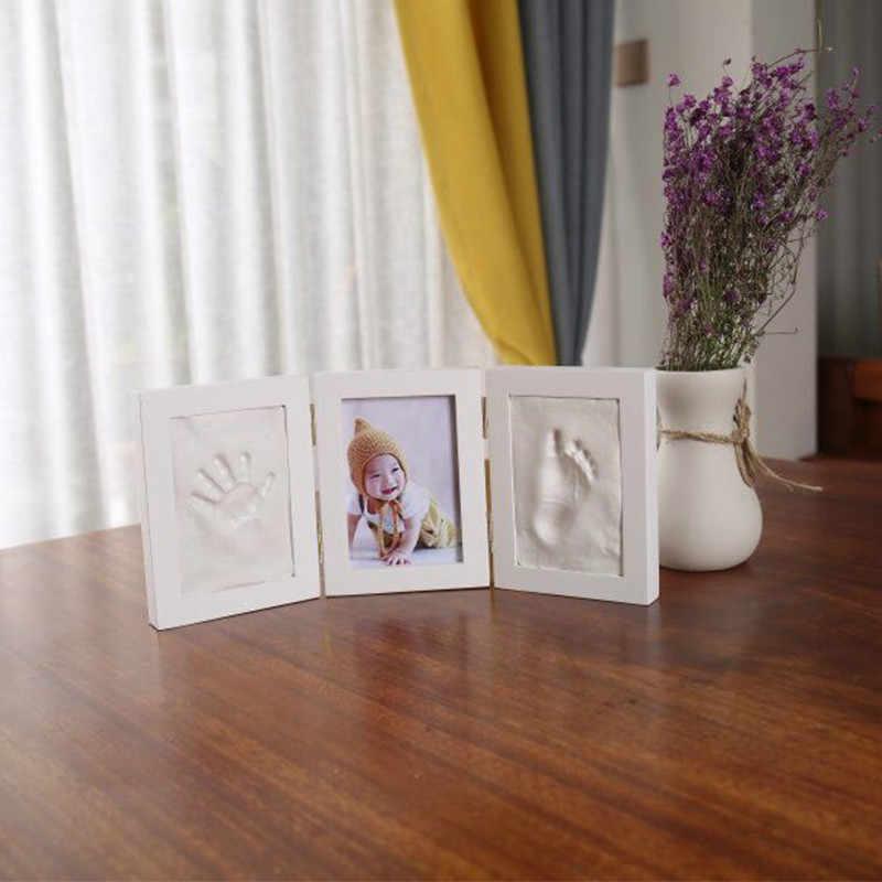 Милая фоторамка для малышей со следами ног или ручной печати Литой Набор DIY отпечаток руки inkpad мягкая глина литья родитель-ребенок рука отпечаток пальца