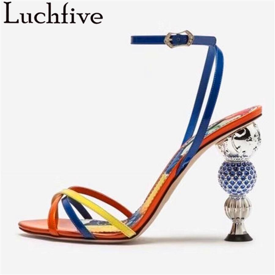 Luchfive Cross band Crystal High Heel Sandals Women Genuine Leather Runway Buckle Rhinestone Special Heel Summer