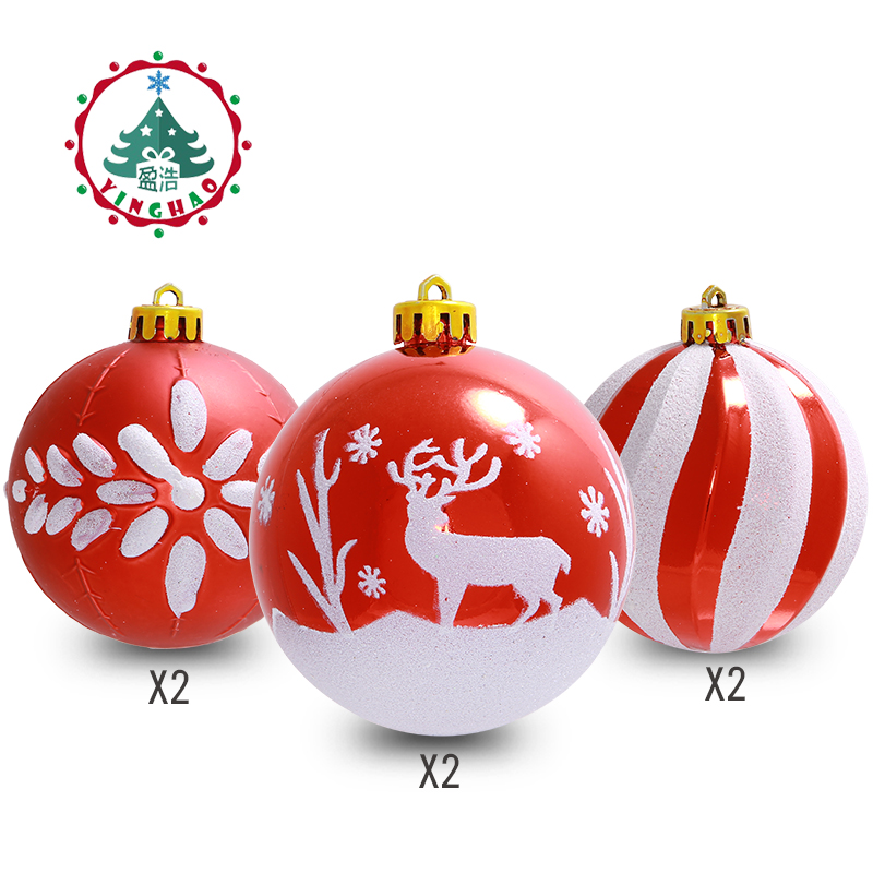 Inhoo 24 PCS 6/8cm Christmas Tree Ball Baubles Xmas Party Wedding Hanging Ornament Christmas Decoration Supplies For Home Decor