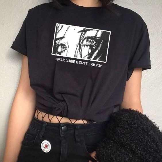 Fashionshow HJN Unisex Are You Afraid Of The Dark Japanese T-Shirt Harajuku Style Aesthetic Anime Tee Hipsters Grunge Top