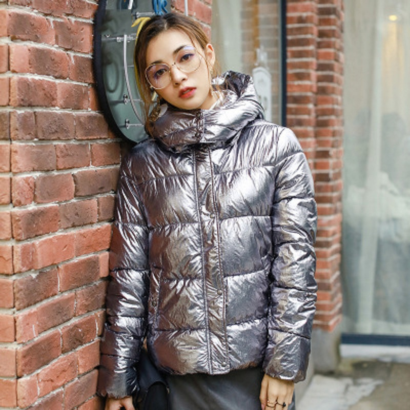 OLGITUM Pro-environment Women Winter Jackets Silver Metal Color Bread Style Ladies   Parka   Dames Abrigos Mujer Invierno CC389