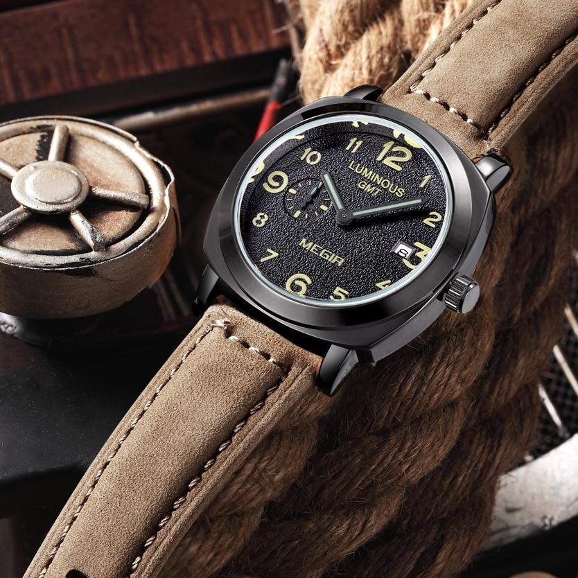 Luxury Men's Quartz Watch Military Calendar Leather Band