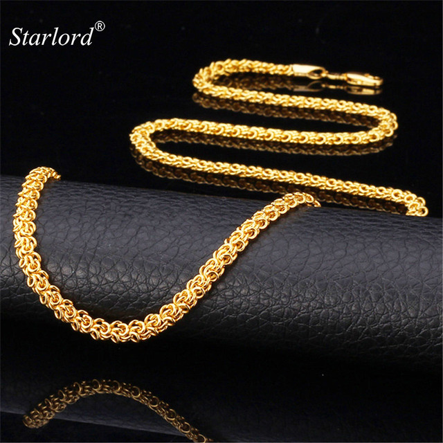 Starlord Byzantine LinK Chain Men Jewelry Set Necklace & Bracelet Free Shipping Gold Color Trendy Jewelry For Men NH433