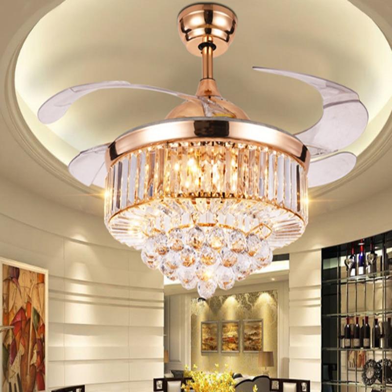 Art Decorative Crystal Ceiling Fan Light Y4216 Retractable Blades Fans Hidden Blades Super Quiet