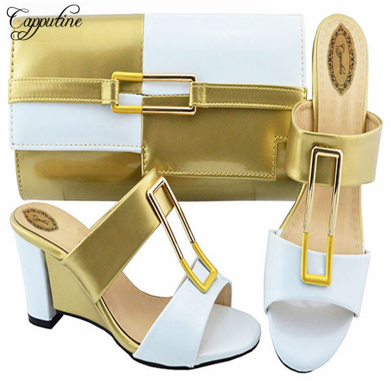 Capputine African Design Ladies Double Color Shoes And Bag Sets Italian Summer High Heels Shoes And Bag Set For Wedding Dress capputine italian fashion design woman shoes and bag set european rhinestone high heels shoes and bag set for wedding dress g40