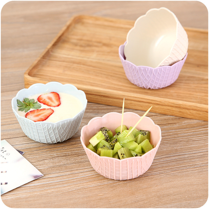Plastic Salad Snack Ice-Cream Bowl With Dressing Sauce Cup&Fork Salad to Go Kit Or Container For Easy Storage Bowl