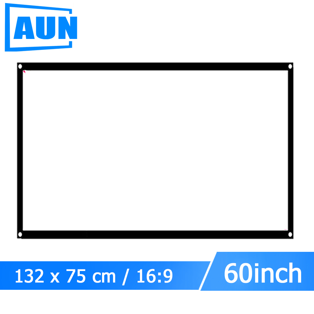 AUN 60 inch 16:9 Portable Projector Screen Plastic Screen for Home theater Travel support LED Projector DLP proyector S60 aun projector 3200 lumen t90 1280 768 optional android projector with 2 4g air mouse bluetooth wifi support kodi ac3 led tv