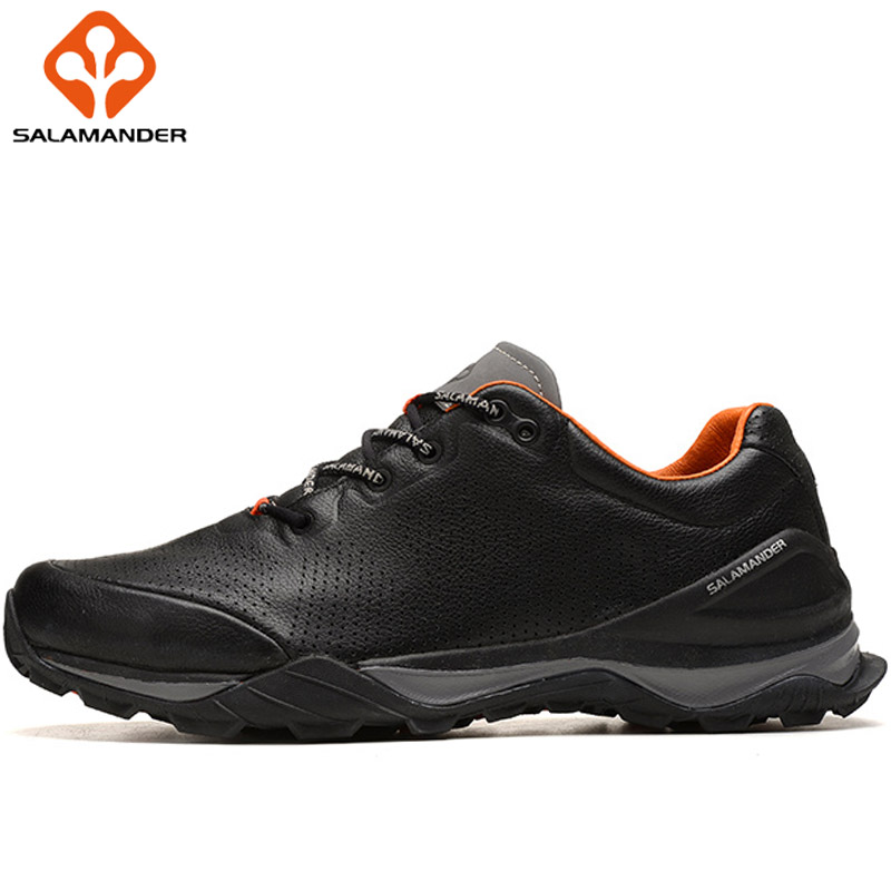 SALAMANDER Genuine Leather Mens Winter Running Shoes Man Brand Outdoor Athletic Men
