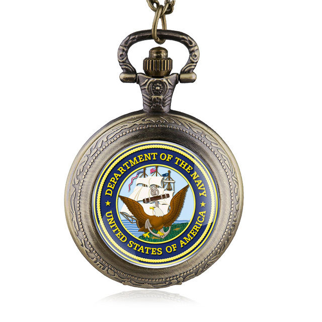 Fashion United States Navy Steel Quartz Pocket Watch Vintage Men Army Military W