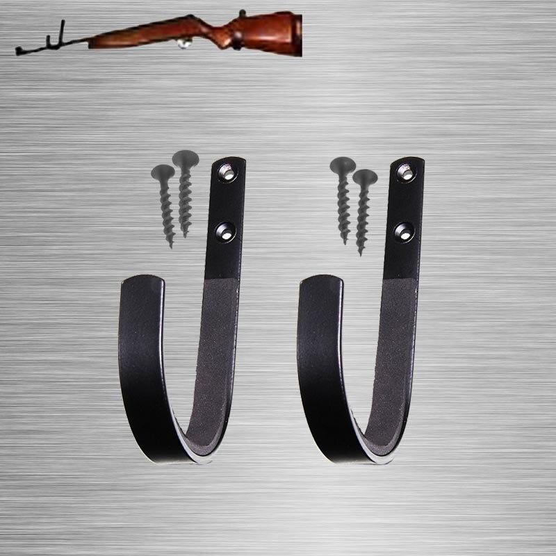 1 Pair Gun Wall Mount Storage Rack J-Hook Rifle Shot gun Hangers Set Anti-Scratch New