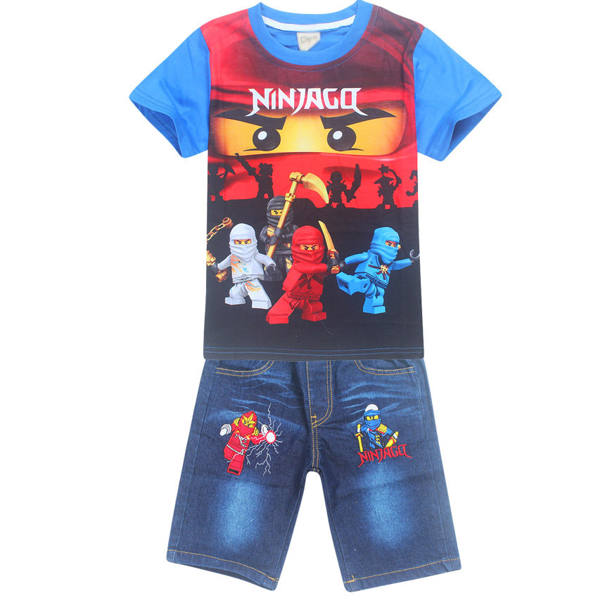 New Boy Summer Clothing Characters Batman Ninja ninjago set Childrens Cotton T-shirt Suits Baby Boys Kids Shorts jeans Sets ujar brand dot patchwork short sleeve shirt boys shorts set childrens summer sets u52a705