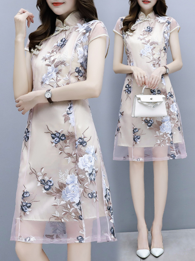 2020 Novelty Lace Cheongsam Chinese Traditional Embroidery Flower Dress Classic Handmade Button Qipao Vestidos