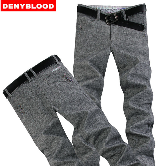 Plus Size 28-40 42 44 46 Mens Darked Wash Jeans Linen Cotton Straight Pants Thin Causal Pants Men Business Chinos Pants 996