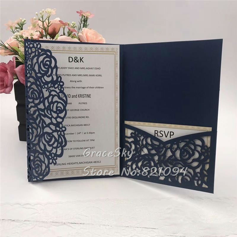 Wedding Invitations Pocket Style: 2019New Free Shipping 50pcs Rose Pocket European Style