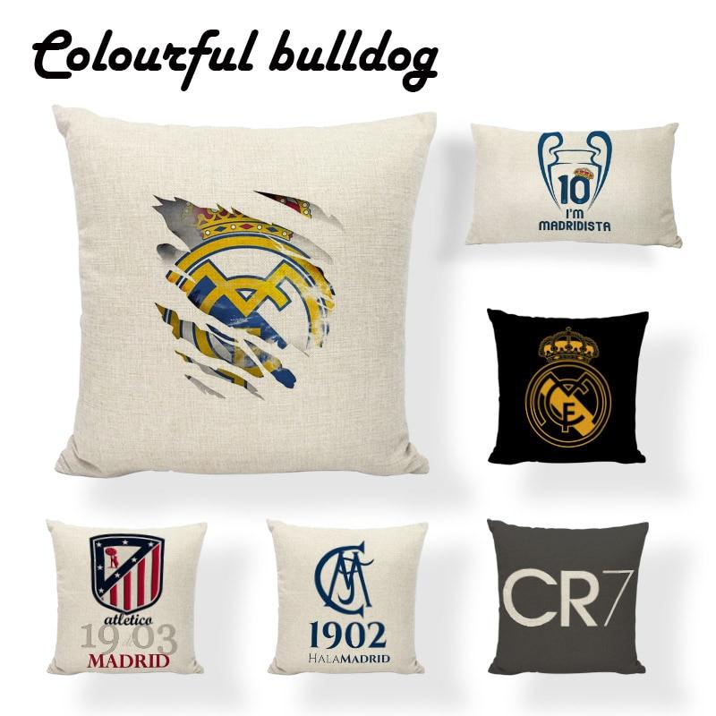 Football Team Logo Printed Cushion Cover Soccer Cotton Linen Throw Pillow Cases Home Decor Sofa Car Seat Fans Best Gift Almofada