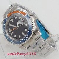 Parnis 40mm 기계식 시계 GMT 사파이어 크리스탈 남자 시계 다이버 시계 자동 relogio masculino 역할 럭셔리 시계 남자