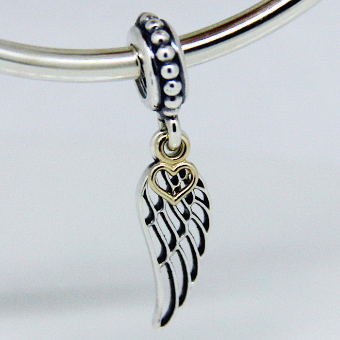 Fit for charm Necklace Bracelets Angel wing silver dangle with Gold Heart Authentic 925 Sterling Silver Charms DIY Jewelry