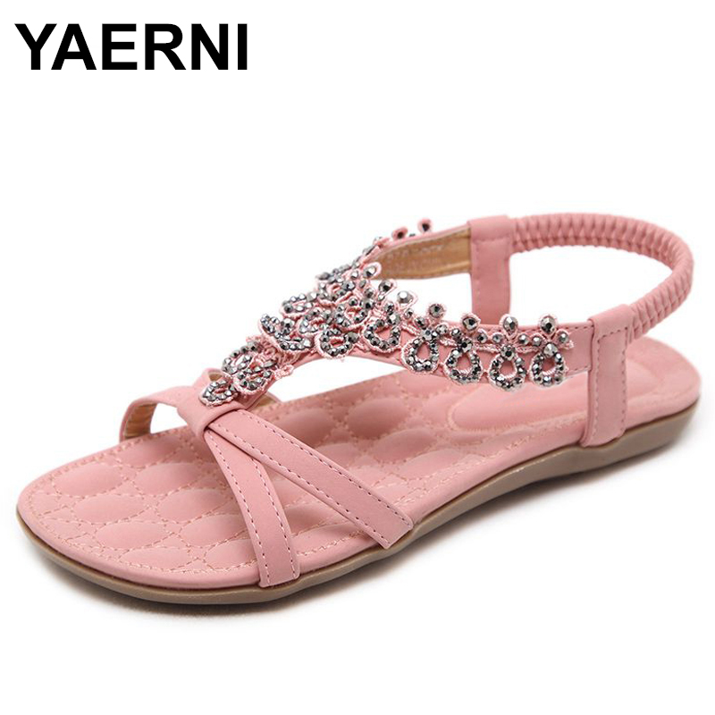 YAERNI 2018 Summer women sandals bohemia Soft bottom causal flip flops flat shoes Woman plus size fashion sandals ladies shoes goxpacer arrival fashion sandals rhinestone flats bohemia women summer style shoes women flat flip flops plus size 35 41