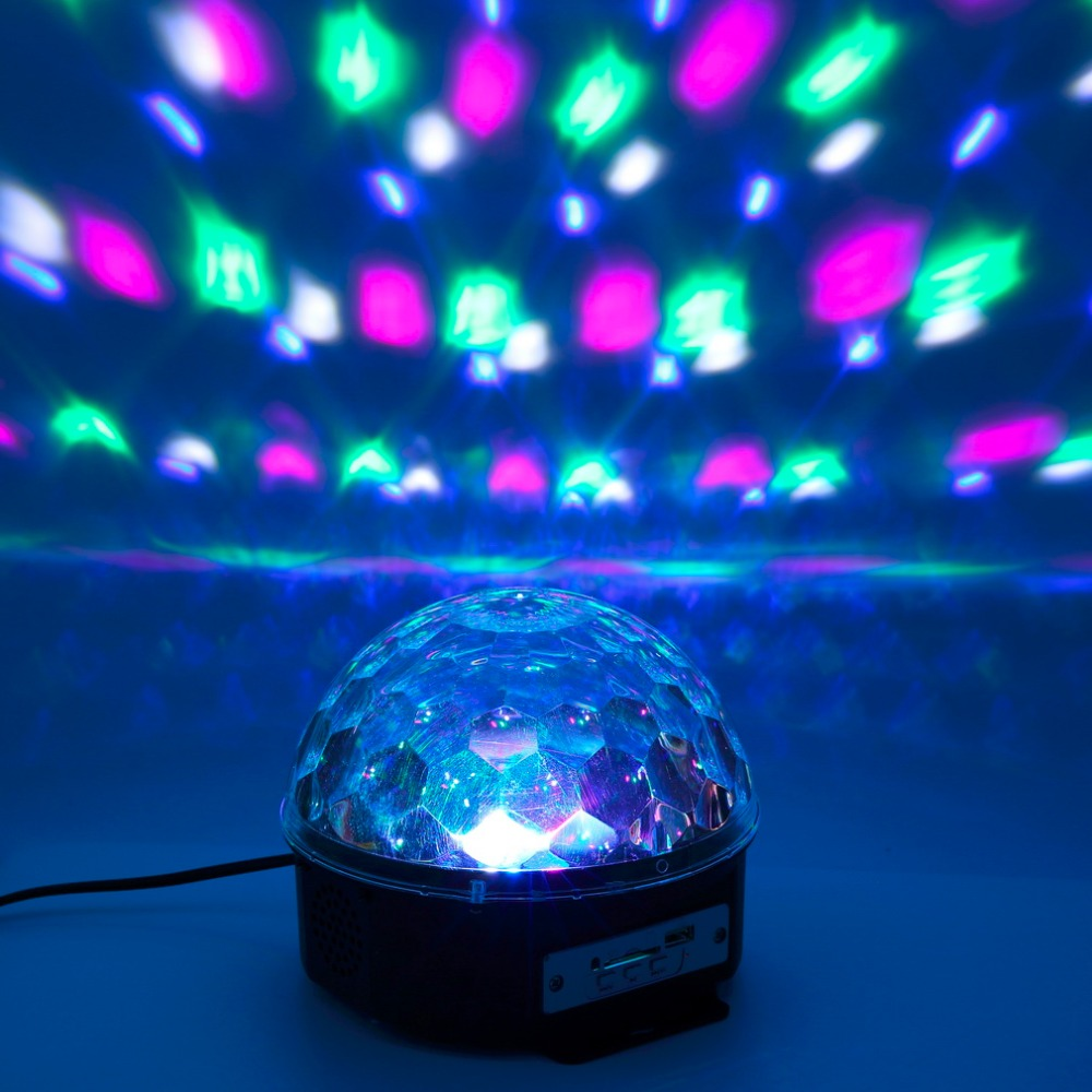 New Arrival RGB Remote Control MP3 Bluetooth music LED Crystal magic Light ball With USB Card