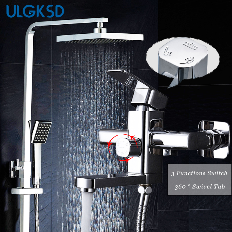 ULGKSD Chrome Brass Shower Faucet Wall Mount 360 Swivel W/ Hand Sprayer Bathroom Shower Set Tub Faucet Mixer Tap free shipping polished chrome finish new wall mounted waterfall bathroom bathtub handheld shower tap mixer faucet yt 5333