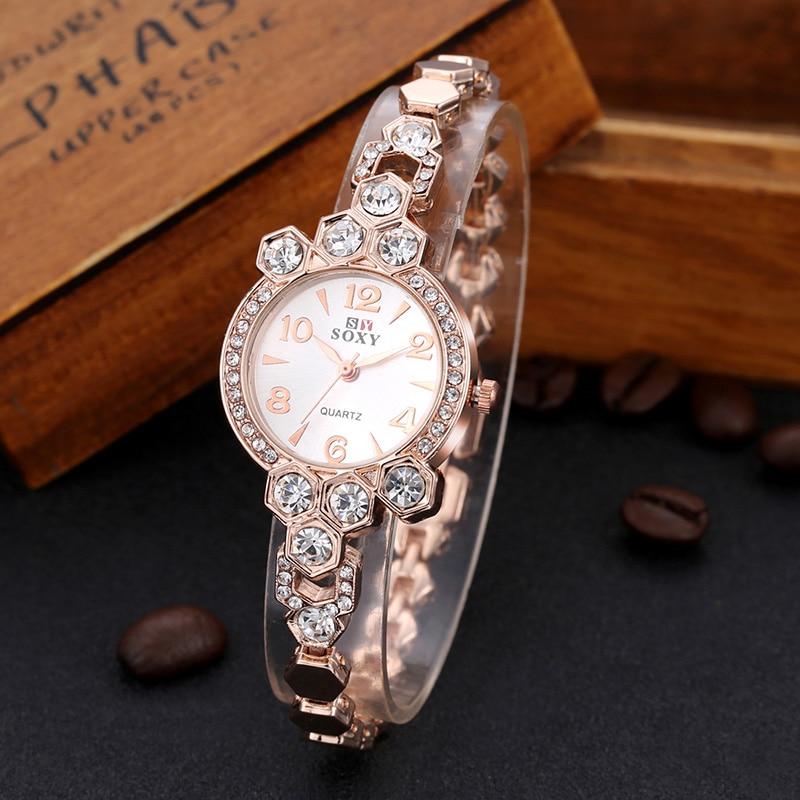 Full Steel Watch Fashion Rose Gold Style Watch Luxury Rhinestone Women's Watches Bracelet Watch Clock Montre Homme Reloj Mujer