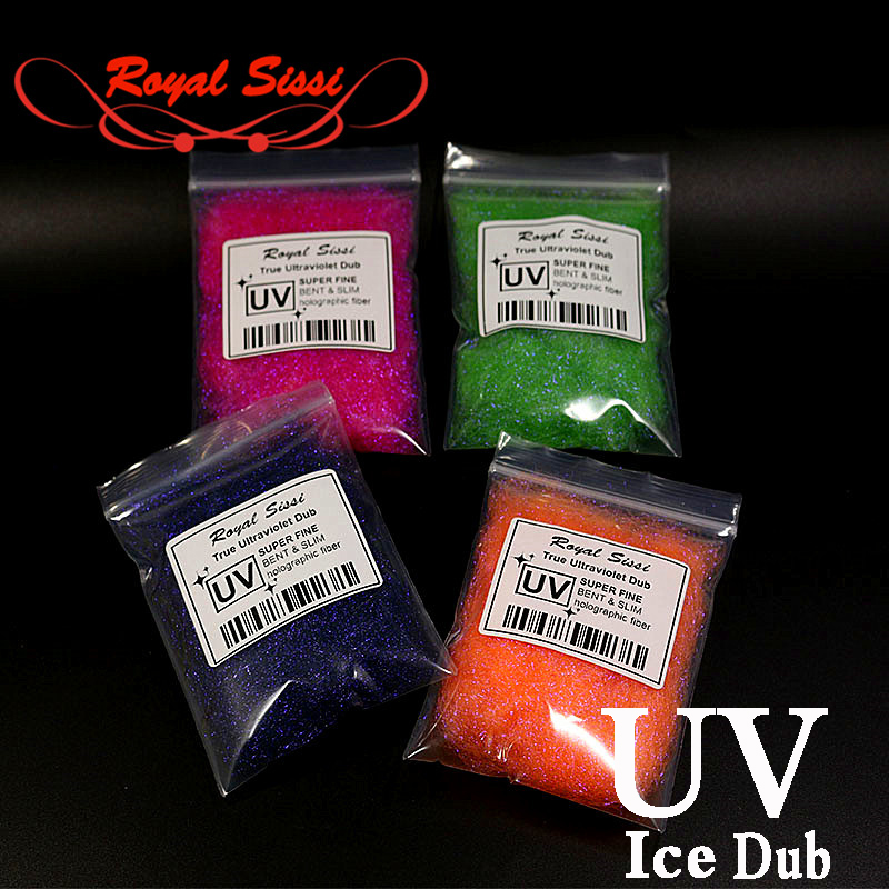 Royal Sissi New 10Colors Fly Tying UV ICE DUB ultraviolet sparkle Living Fibers slim& bent ice dubbing fiber Fly Tying Material 1pcs fly tying dubbing wax medium tack 4g premium