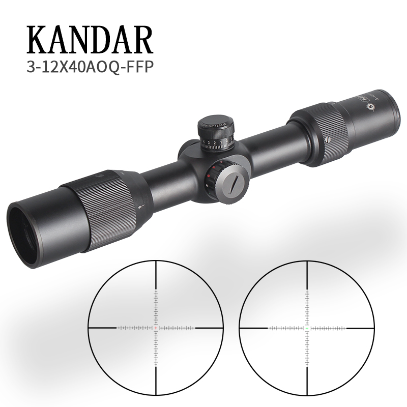 KANDAR3-12X40 FFP Tactical Riflescope Red Green Illuminated Rifle Scope Sniper Optic Sight Hunting Scopes Rifle Air Red Dot Cqb