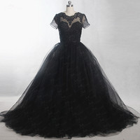 RSE816 Short Sleeves Keyhole Back Vestido Tulle Ball Gown For Black Prom Dresses 2017