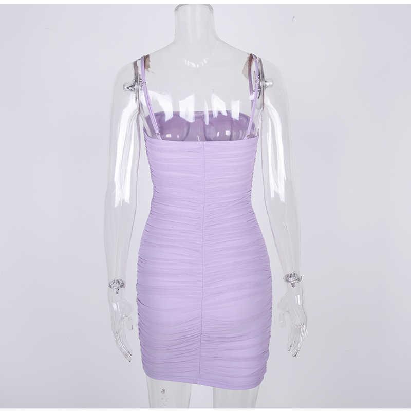 Невозьму 2 слоя летнее Клубное платье Для женщин 2019 сексуальное присборенное платье Сетчатое платье элегантный бледно-лиловый облегающее платье пляжное нарядные повседневные платья