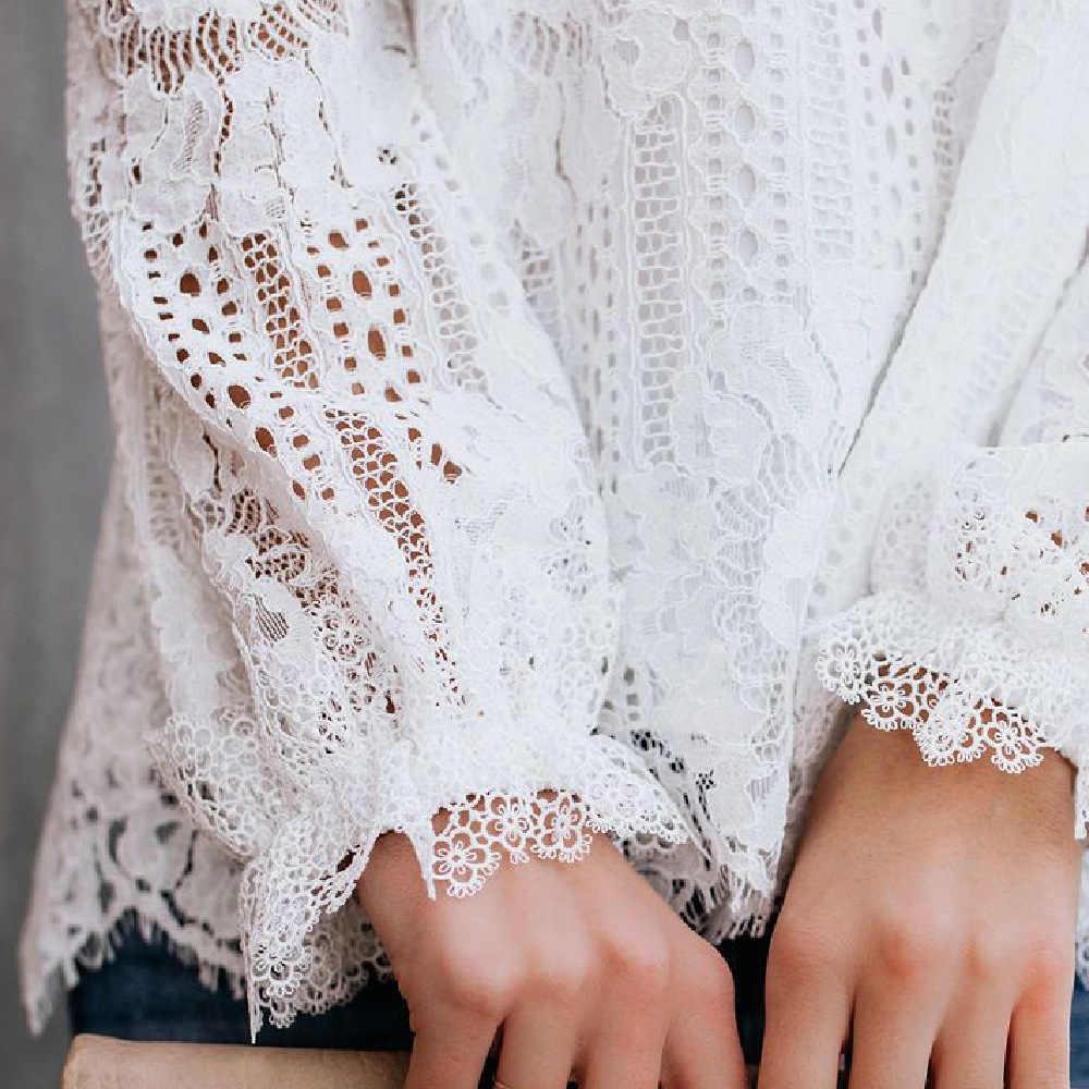 Sexy épaule froide femmes dentelle Blouse Top noir blanc à manches longues lanterne chemises dames d'été partie Blouses hauts femme