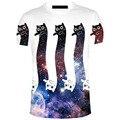 2017 Nova Engraçado Impressão gato T-Shirt Impressão 3d Mangas Curtas T-shirts de Macarrão Chemise Moda Unissex