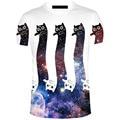 2017 Nueva Impresión Divertida de Fideos gato T-Shirt de Impresión 3d de Manga Corta T-shirt de Moda Camisa Unisex