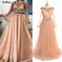 c91614fa94c9c Peach Brown Long Sleeve Dubai Evening Dresses Design 2019 Handmade Flowers  Pearls Evening Gowns Lace Special
