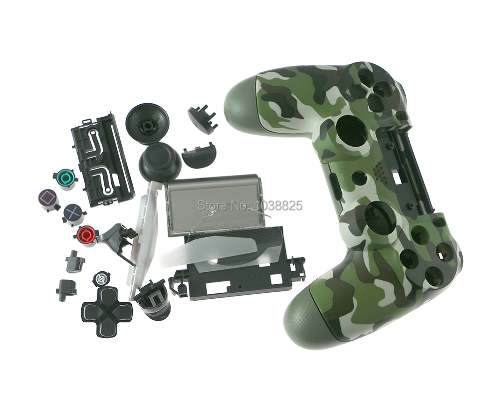 jds-040 Camouflage Army green Matte Front+Back Hard Upper Housing Shell Case with full set button for PS4 Pro 4.0 Controller