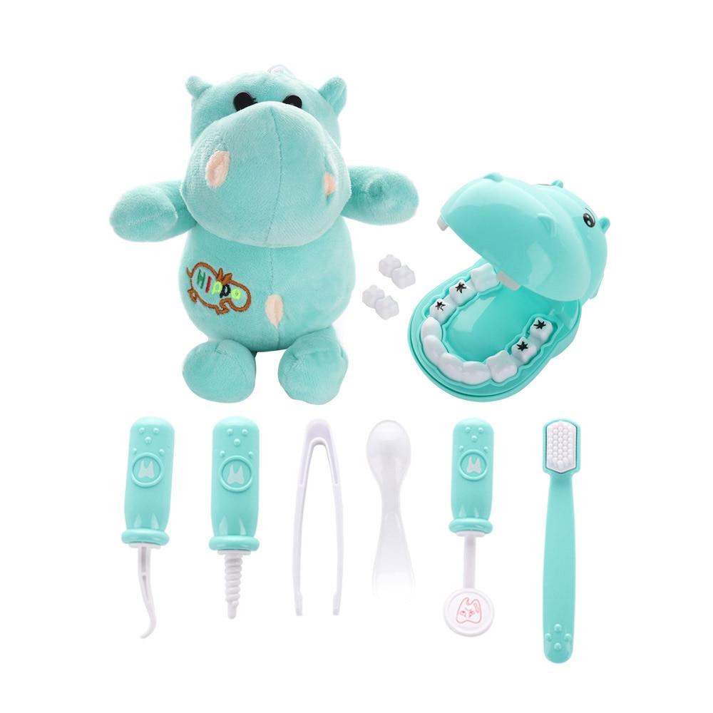 9Pcs Kids Pretend Plush Play Dentist Check Teeth Model Set Medical Kit Educational Role Play Simulation Learing Toys